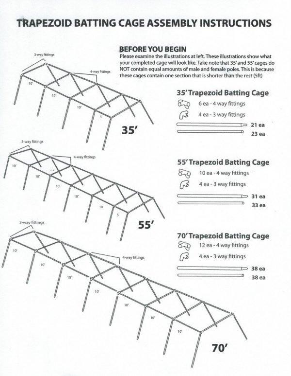 Economy/Trapezoid Batting Cage Assembly Instructions