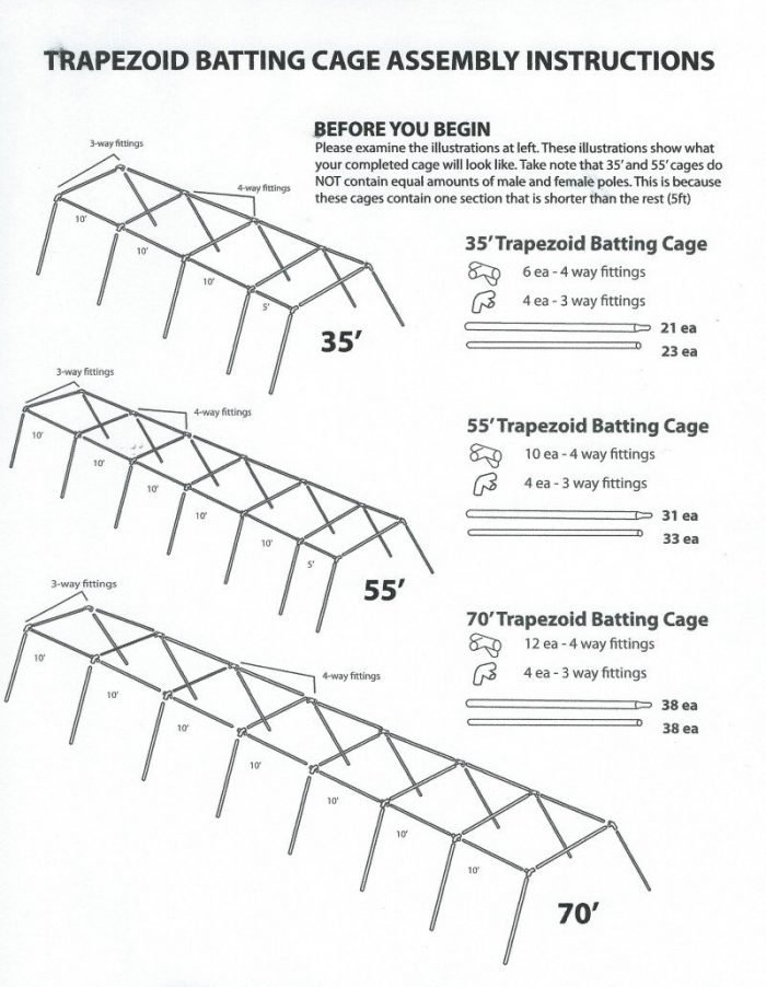 Economy/Trapezoid Batting Cage Assembly Instructions